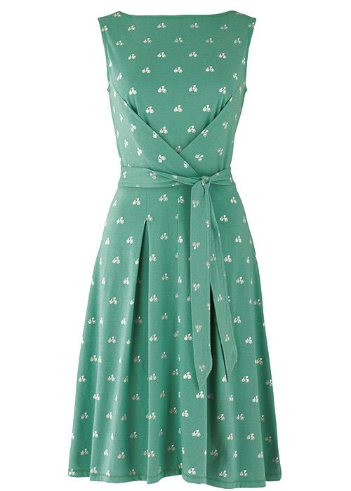 Francesca Bow Dress in bicycle print