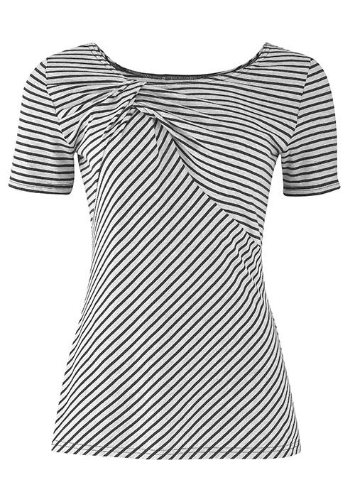 Jasmine Twist Grey Stripe top