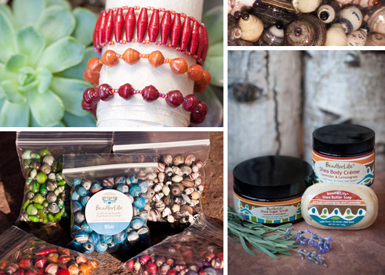 Bracelets, beads, and shea butter products from BeadforLife