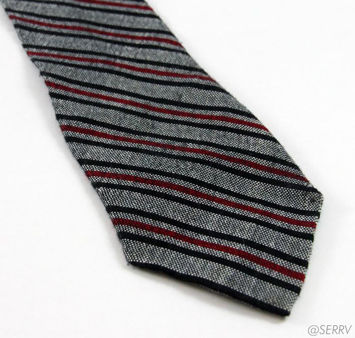 Crimson/Grey Thin Stripe Tie
