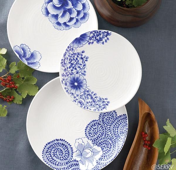 SERRV Cobalt Flower Plates