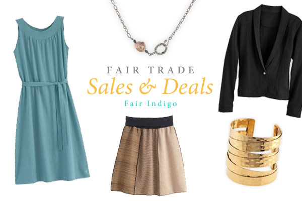 Fair Trade Sales & Deals header with Fair Indigo product images