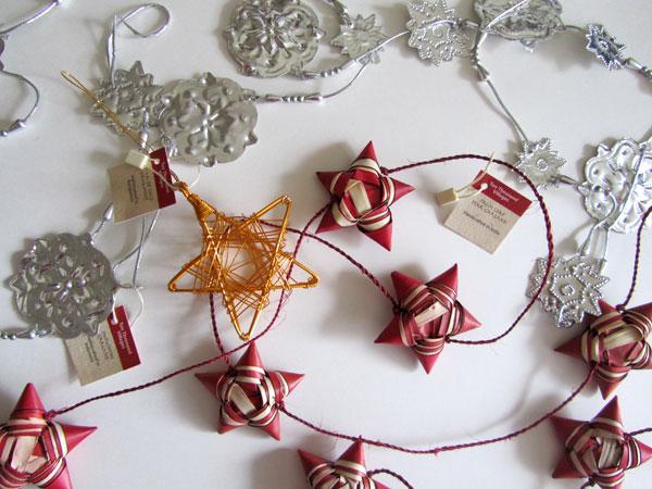 Fair trade snowflake garland, star garland and star ornament
