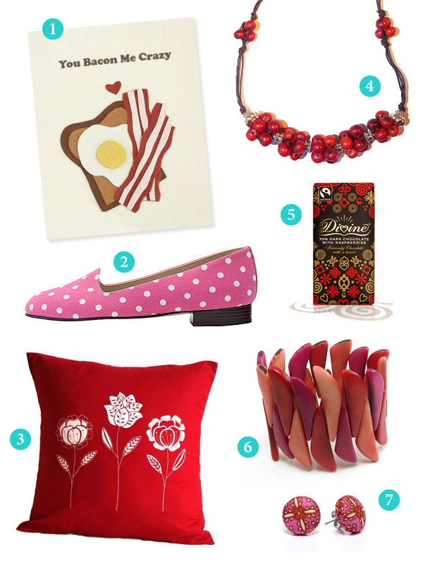 Collection of fair trade Valentine's Day products in red and pink