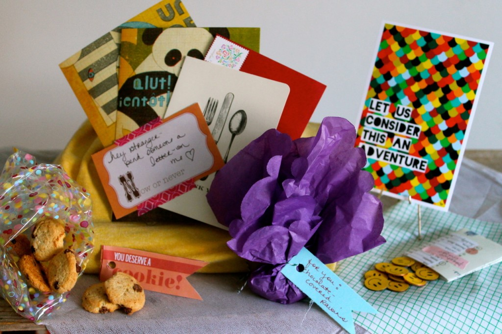Array of cards, tiny cookies, notes and stickers