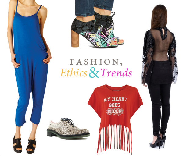 Collection of trendy ethical clothing including a fringed t-shirt, reptile shoes, sheer top and blue jumpsuit