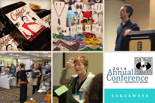 Thumbnails of conference speakers and exhibition. Fair Trade Federation Conference Takeaways