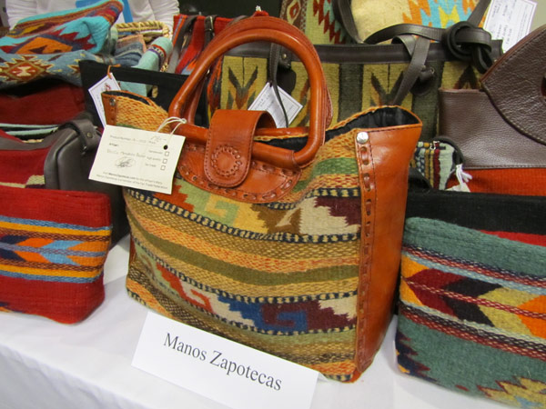 Woven textile and leather tote bag from Manos Zapotecas