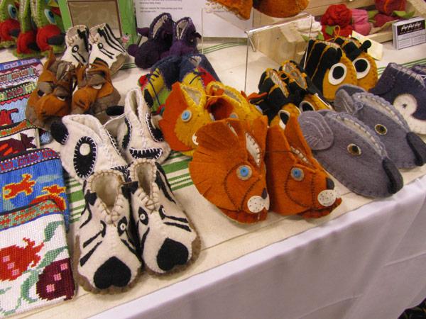 Wool animal baby booties from Silk Road Bazaar