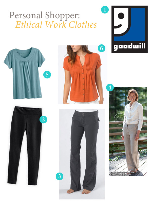 Collage of recommended ethical work clothes