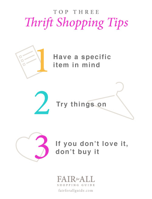 Infographic of top 3 thrift shopping tips