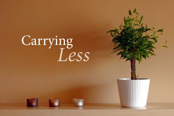 Carrying Less header image with minimalist shelf