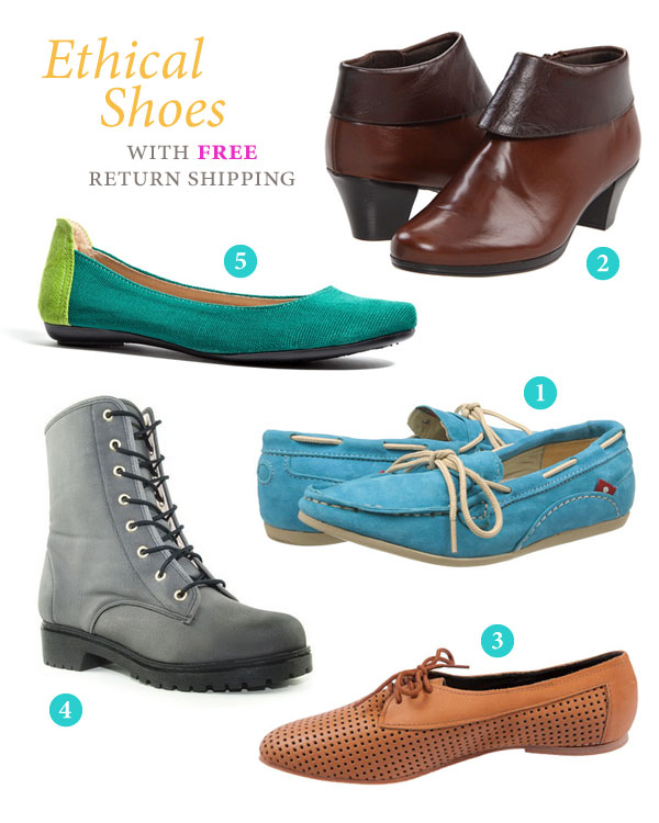 Ethical shoes with free return shipping - shoe images