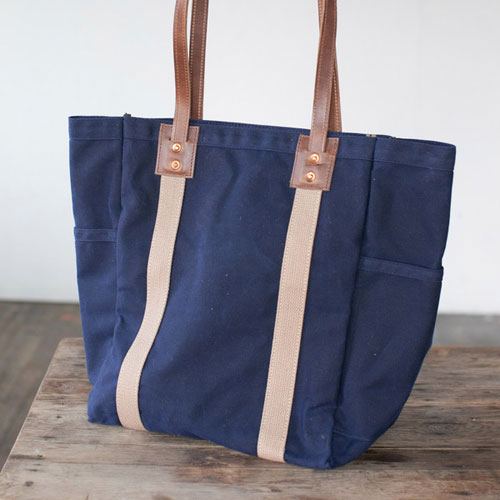 No. 105 Utility Tote from Artifact Bag Co. - Navy & brown