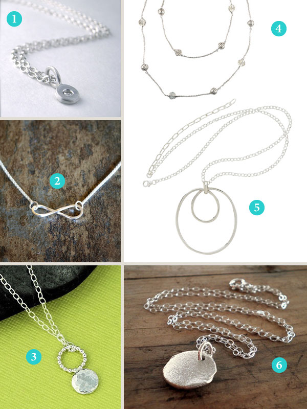 Montage of simple silver necklaces