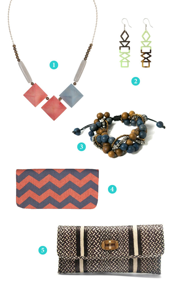 Necklace, earrings, bracelet, wallet and clutch from Fair Trade Designs