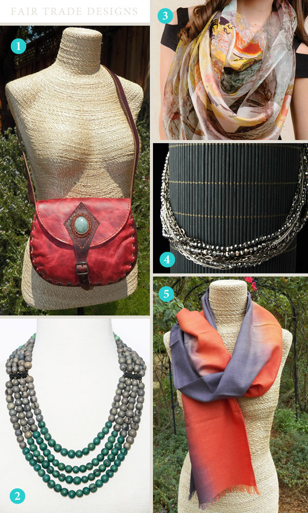 Purse, scarves and necklaces from Fair Trade Designs