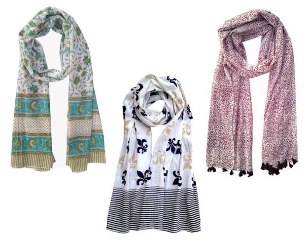 Floral Ocean scarf, Fleur de Lis scarf, Pollock Purple scarf