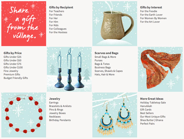Ten Thousand Villages holiday gift finder