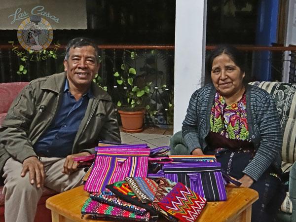 Guatemalan artisans with Las Casas snap bags