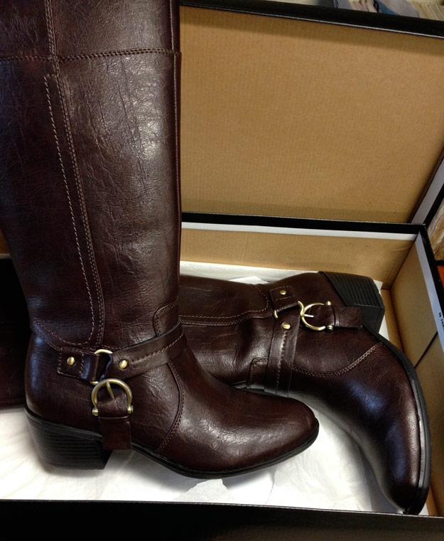 Tall brown boots in shoebox