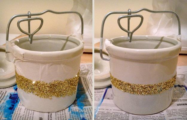 Ceramic crock with gold glitter stripe