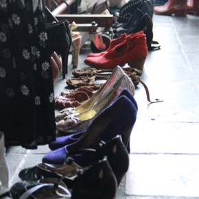 Row of high heels at a vintage market