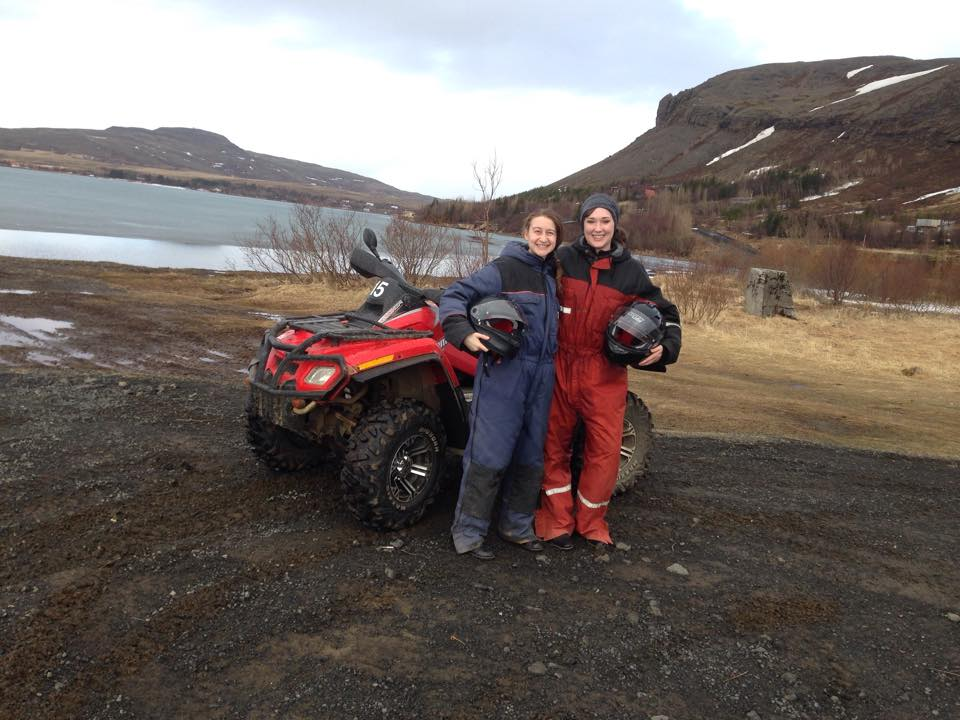 Julia and friend with four wheeler