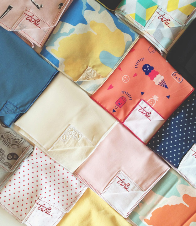 Assortment of colorful handkerchiefs