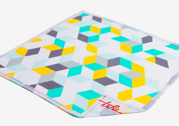 Teal, yellow and gray geometric patterned handkerchief