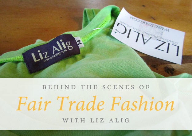 Liz Alig hang tag on a green shirt