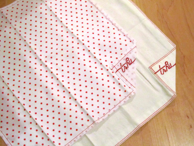 The one-ply polka-dotted Henri and two-ply Dwight handkerchiefs