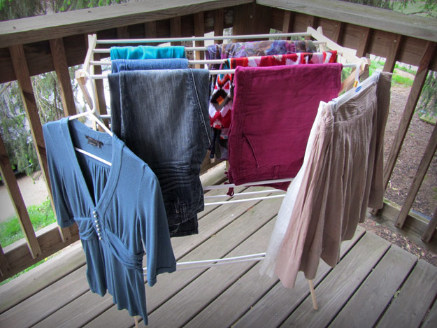 Clothes hanging on drying rack