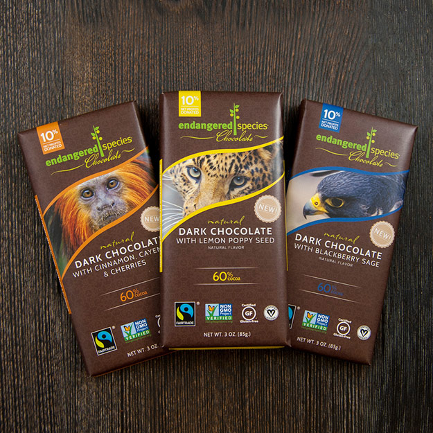Three chocolate bars from Endangered Species Chocolate