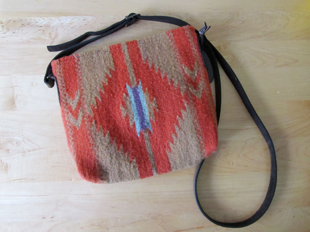 Coral and beige fair trade crossbody purse