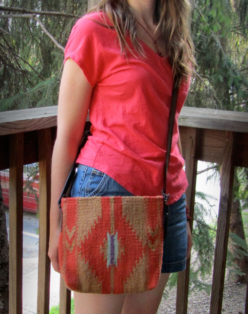 Julia wearing fair trade crossbody purse