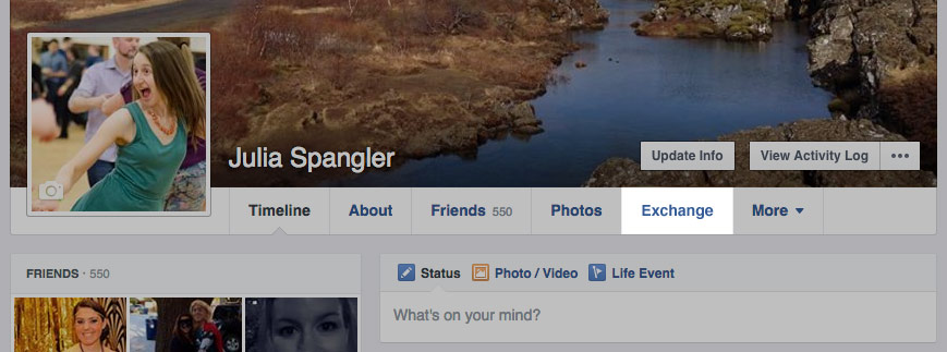 Mockup of Facebook profile with Exchange link