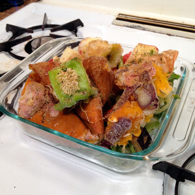 Frozen vegetable scraps in a Pyrex baking pan