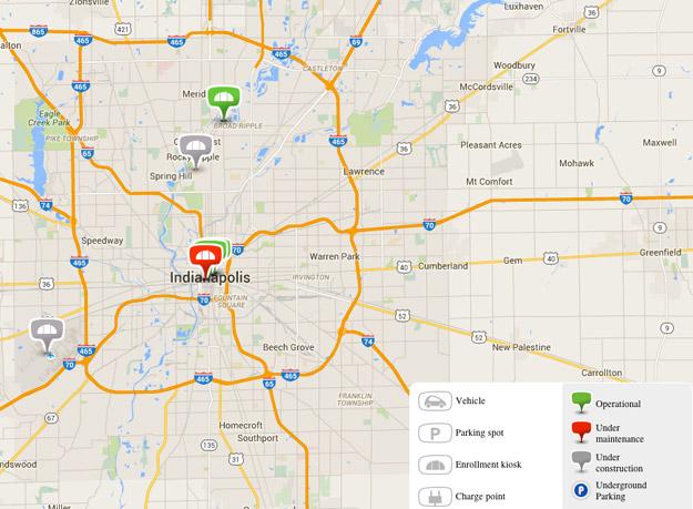 Map of BlueIndy Enrollment Kiosks