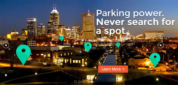 BlueIndy banner promoting guaranteed parking