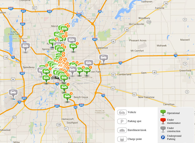 Map of BlueIndy vehicle stations
