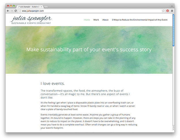 Screenshot of Julia Spangler's sustainable event consulting website
