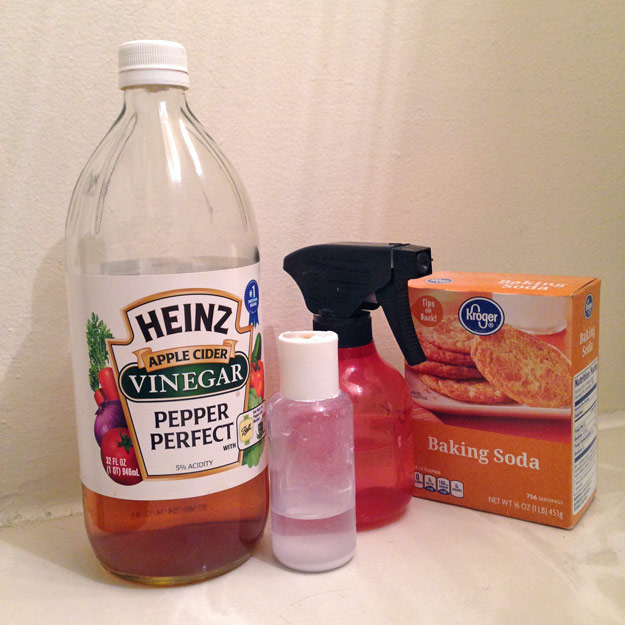 Bottle of vinegar, spray bottle, and baking soda