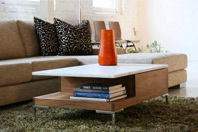 Modern eco-friendly coffee table with red vase