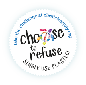 "Plastic Free July badge ""Choose to Refuse"""