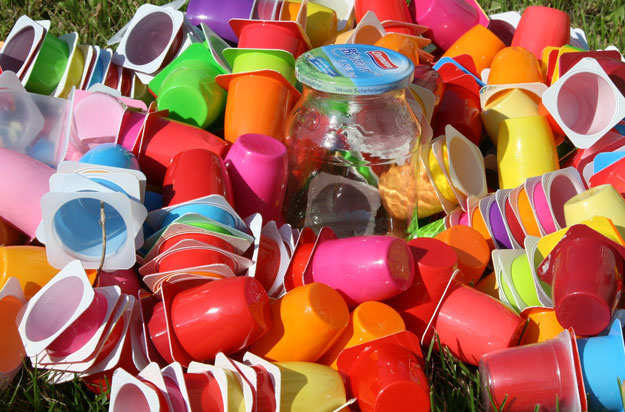 Multicolored plastic cups